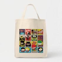 chibi justice league, batman, wonder woman, superman, flash, green lantern, supergirl, batgirl, cyborg, kids pattern, super hero, dc comics, Bag with custom graphic design