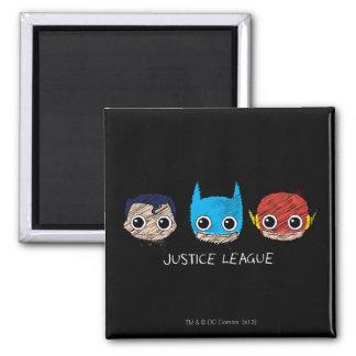 Chibi Justice League Heads Sketch 2 Inch Square Magnet
