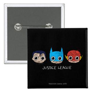 Chibi Justice League Heads Sketch Pins