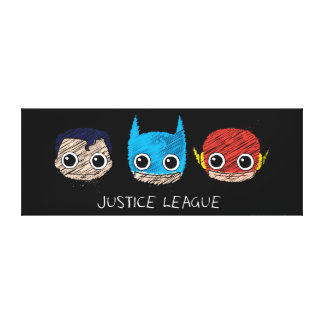 Chibi Justice League Heads Sketch Gallery Wrap Canvas