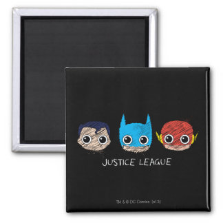 Chibi Justice League Heads Sketch Magnet