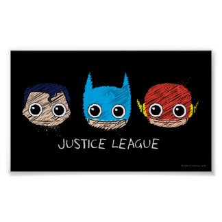 Chibi Justice League Heads Sketch Posters