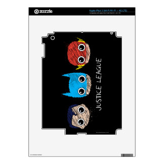 Chibi Justice League Heads Sketch Skin For iPad 3