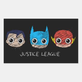 Chibi Justice League Heads Sketch Rectangular Sticker