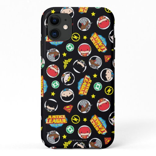 Chibi Justice League Heroes and Logos Pattern iPhone 11 Case