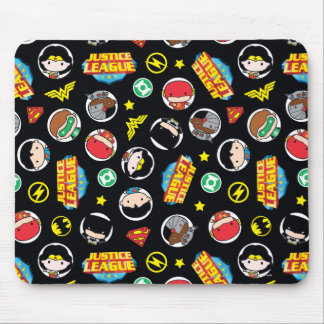 Chibi Justice League Heroes and Logos Pattern Mouse Pad