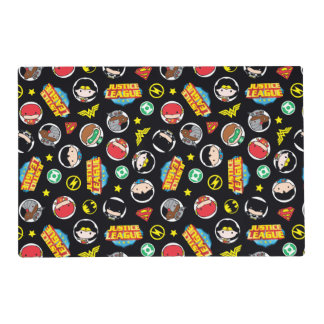 Chibi Justice League Heroes and Logos Pattern Placemat