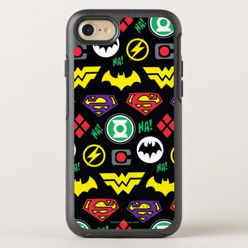 Chibi Justice League Logo Pattern OtterBox Symmetry iPhone SE/8/7 Case