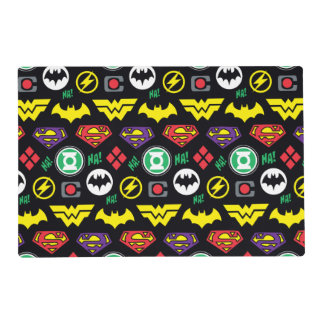 Chibi Justice League Logo Pattern Placemat