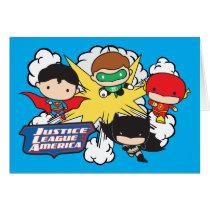 chibi superman, chibi green lantern, chibi batman, chibi flash, justice league of america, justice league logo, super hero, explosion, blast, dc comics, Card with custom graphic design