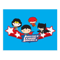 chibi wonder woman, chibi superman, chibi batman, chibi flash, justice league of america, super hero, dc comics, red white stars, Postcard with custom graphic design