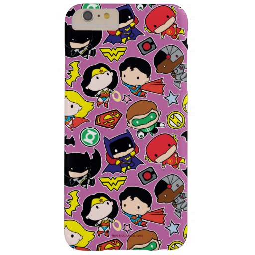 Chibi Justice League Pattern on Purple Barely There iPhone 6 Plus Case