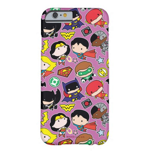 Chibi Justice League Pattern on Purple Barely There iPhone 6 Case
