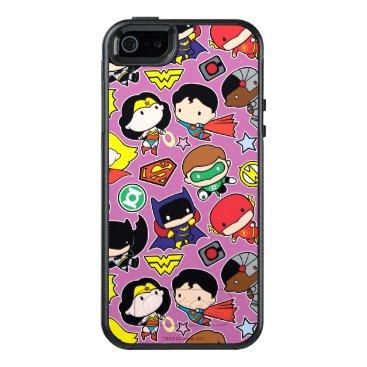 Chibi Justice League Pattern on Purple OtterBox iPhone 5/5s/SE Case