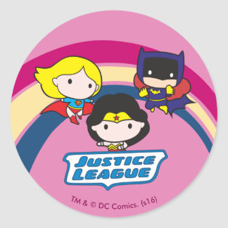 Chibi Justice League Rainbow Classic Round Sticker