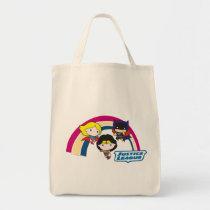 chibi supergirl, chibi wonder woman, chibi batgirl, justice league, rainbow, logo, super hero, dc comics, Bag with custom graphic design