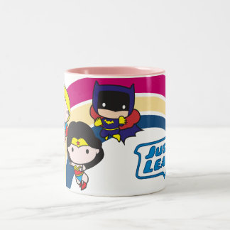 Chibi Justice League Rainbow Two-Tone Coffee Mug