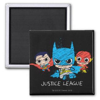 Chibi Justice League Sketch 2 Inch Square Magnet