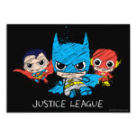 Chibi Justice League Sketch 5x7 Paper Invitation Card