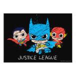 """Chibi Justice League Sketch 5"""" X 7"""" Invitation Card"""