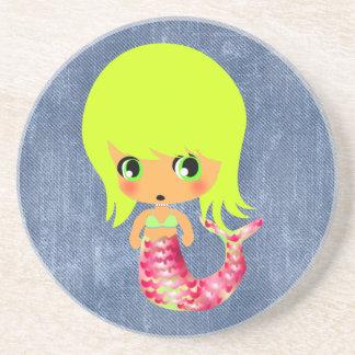 chibi magical mermaid 3 drink coaster