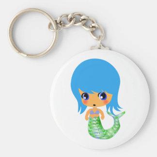 chibi magical mermaid blue hair basic round button keychain