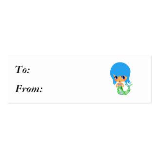 chibi magical mermaid blue hair mini business card