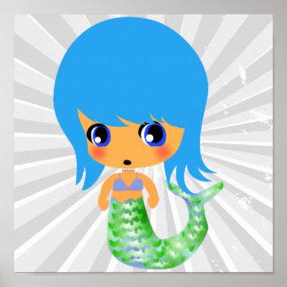 chibi magical mermaid blue hair poster