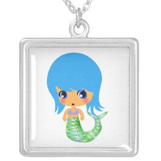 chibi magical mermaid blue hair square pendant necklace
