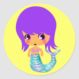 chibi magical mermaid purple hair classic round sticker