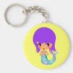 chibi magical mermaid purple hair basic round button keychain