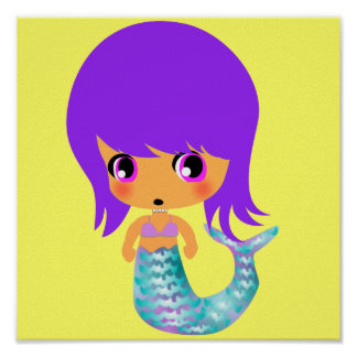 chibi magical mermaid purple hair print