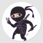 Chibi Ninja Pegatina Redonda