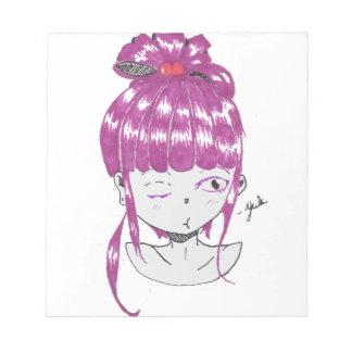 chibi pink hair teen girl notepad