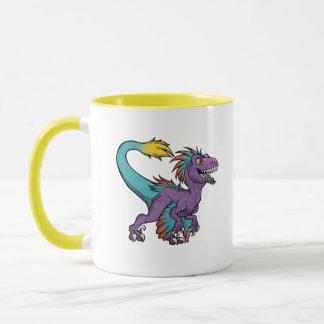 Chibi purple feathered velociraptor mug