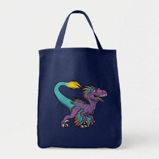 Chibi purple feathered velociraptor tote bag