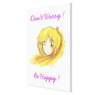 Chibi Ran 'Be Happy' Canvas Gallery Wrap Canvas