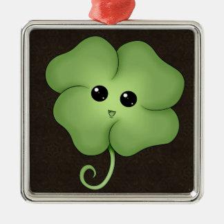Chibi Saint Patrick's Day Clover Metal Ornament