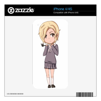 Chibi School Girl Decal For iPhone 4