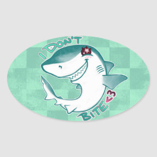 Chibi Shark Oval Sticker