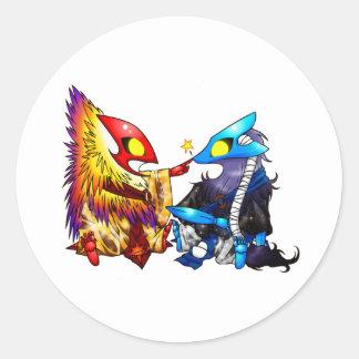 Chibi Solis & Lune Classic Round Sticker