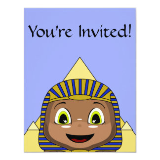 Chibi Sphinx With Pyramids 4.25x5.5 Paper Invitation Card