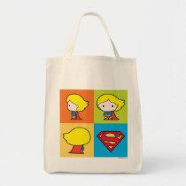 chibi justice league, super hero, supergirl, checker pattern, dc comics, super hero logo, superman, shield logo, Bag with custom graphic design