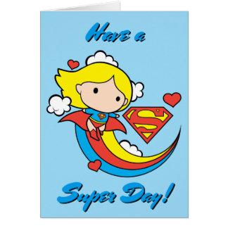 Chibi Supergirl Flying Rainbow Card