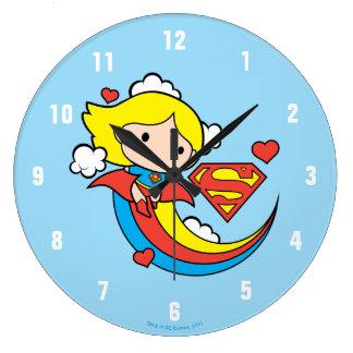 Chibi Supergirl Flying Rainbow Large Clock