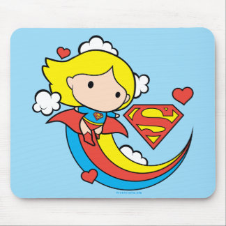 Chibi Supergirl Flying Rainbow Mouse Pad