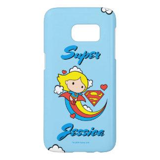 Chibi Supergirl Flying Rainbow Samsung Galaxy S7 Case
