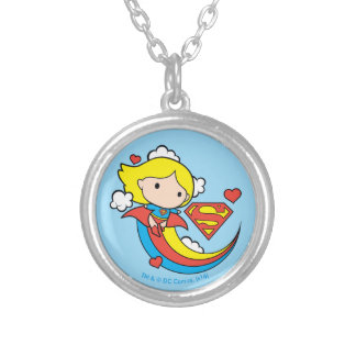 Chibi Supergirl Flying Rainbow Silver Plated Necklace