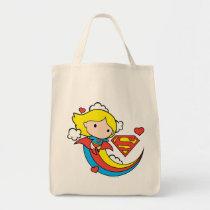 chibi supergirl, superman, rainbow, flying, hearts, s-shield logo, super hero, justice league, dc comics, Bag with custom graphic design