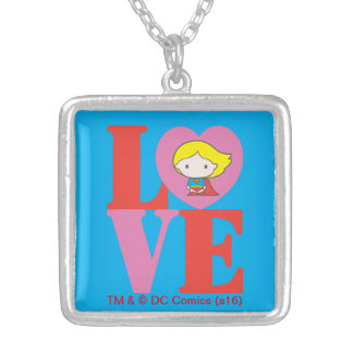 Chibi Supergirl LOVE Silver Plated Necklace